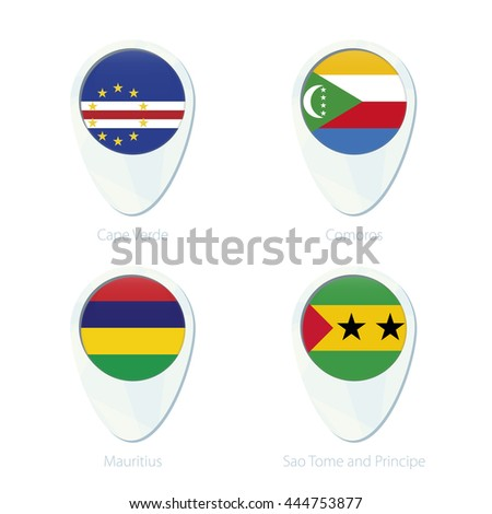 Cape Verde, Comoros, Mauritius, Sao Tome and Principe flag location map pin icon. Vector Illustration.