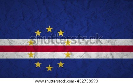 Cape Verde flag with the effect of crumpled paper and grunge