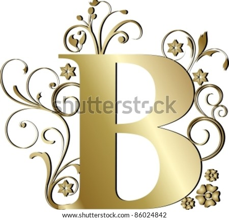capital letter B gold - stock vector
