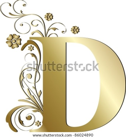 capital letter D gold - stock vector