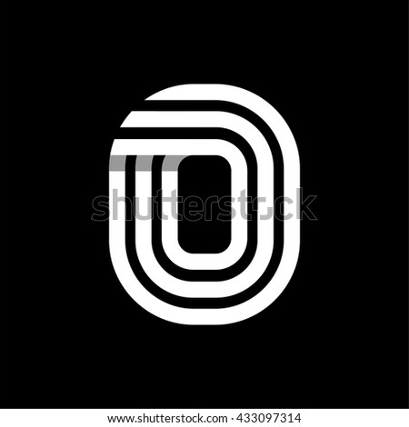 Capital letter O. Made of of three white stripes Overlapping with shadows. Logo, monogram, emblem trendy design. - stock vector