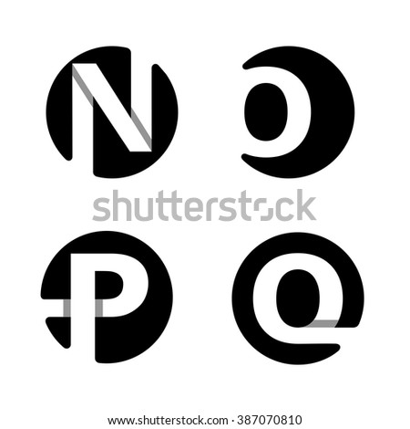 Capital letters N, O, P, Q. From white stripe in a black circle.  Overlapping with shadows. Logo, monogram, emblem trendy design. - stock vector