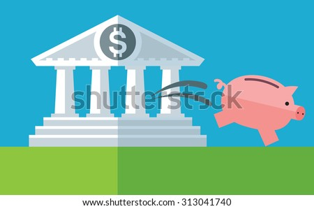 capital outflow. Piggy bank run out bank building. Flat vector business illustration - stock vector