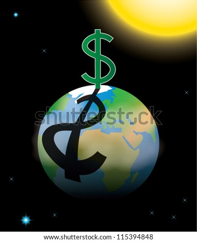 Capitalism symbolized by dollar sign casting shadow over planet Earth, vector illustration - stock vector