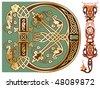 capitals and initials of the ancient manuscripts - stock vector