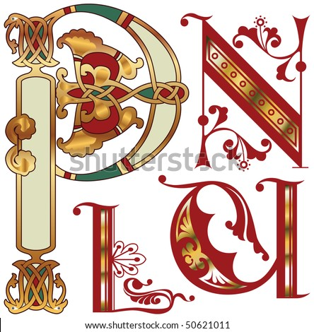 capitals and initials of the ancient manuscripts - stock vector