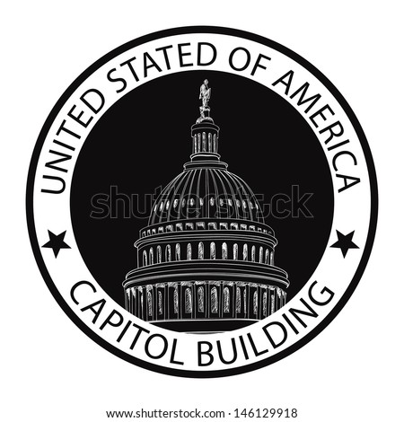 Capitol Building Hand Drawn Vector Illustration. United States Capitol Grunge Rubber Stamp (Capitol hill, U. S. Capitol dome)  - stock vector