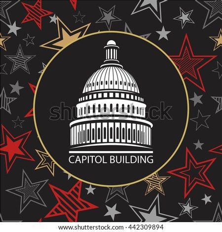 Capitol building in the United States of America with the stars in a circle pattern for the election of US President