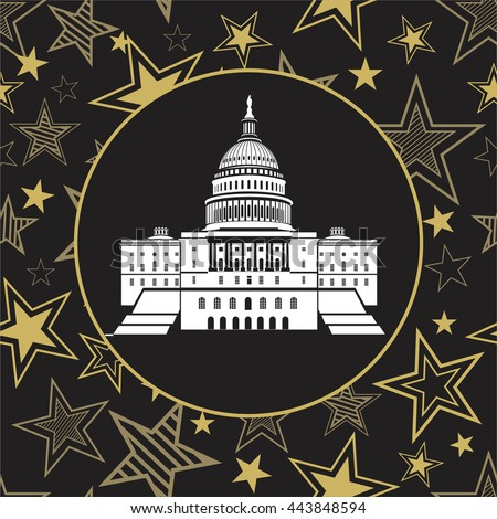 Capitol building in the United States on the background seamless pattern of stars - stock vector