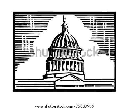 Capitol Building - Retro Ad Art Illustration - stock vector