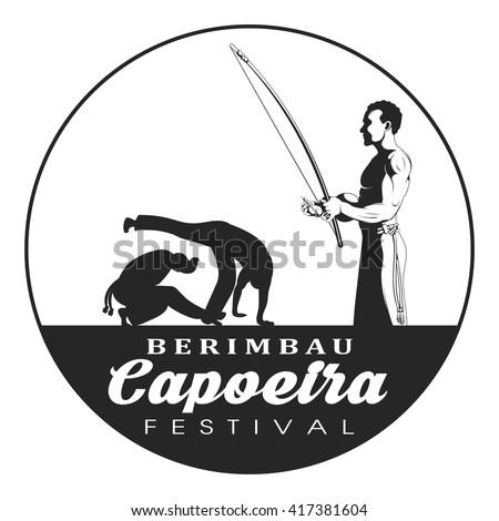 Capoeira berimbau festival badge. Capoeira dancer playing a instrument berimbau. Two capoeira dance fighter silhouette. - stock vector