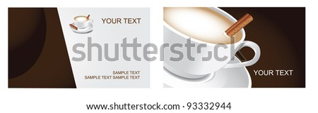 Cappuccino Coffee Business Card Set Front and back. EPS 8 vector, grouped for easy editing. No open shapes or paths. - stock vector