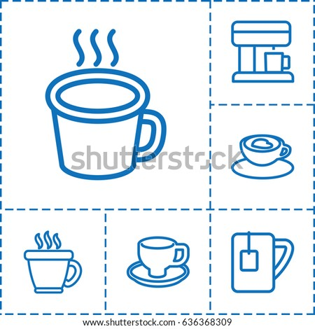 Cappuccino Icon Set Of 6 Outline Icons Such As Coffee Cup