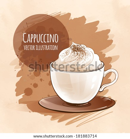 Cappuccino. Vector illustration. Isolated. - stock vector