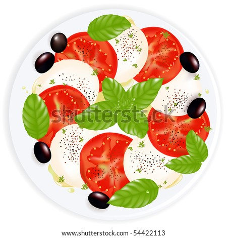 Caprese Salad With Mozzarella, Basil, Black Olives, Olive Oil And Black Pepper On Plate, Isolated On White - stock vector