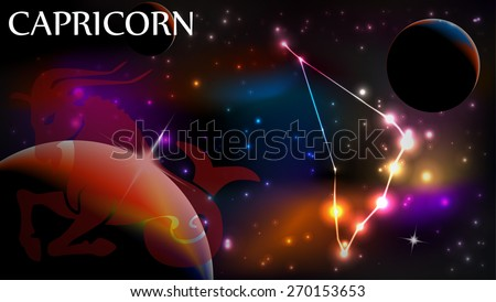 Capricorn - Space Scene with Astrological Sign and copy space