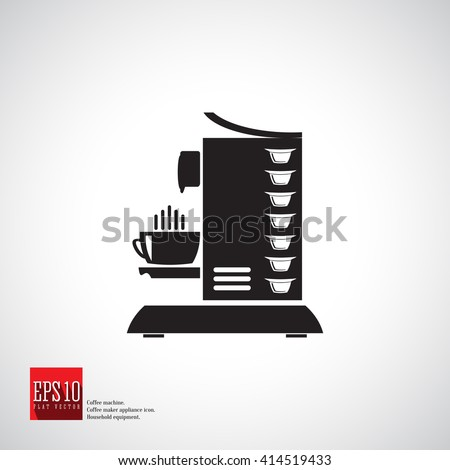 Capsule Coffee Machine Side View Vector Icon With Capsules And Cup Home Beverage