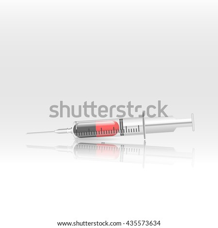 capsule medicines in Syringe   with glossy shadow Vector