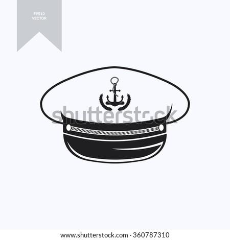 captain hat (nautical captain's hat, vector illustration captains hat ) - stock vector
