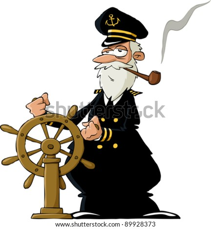 Captain on a white background, vector illustration - stock vector