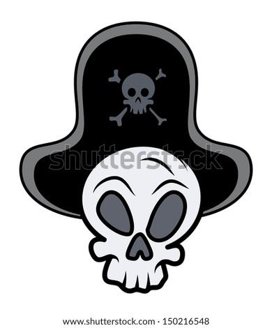 Captain Pirate Skull - Vector Cartoon Illustration - stock vector