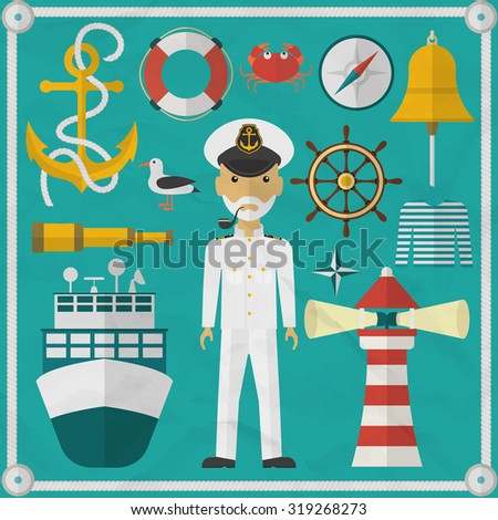 Captain, sailor, flat style character and nautical elements. Nautical flat icons. Vector illustration