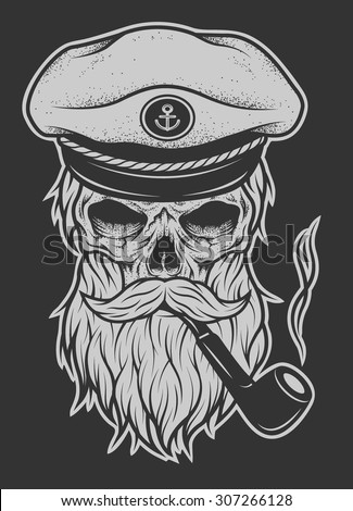 Captain Skull in a hat with a beard and a tobacco pipe. - stock vector