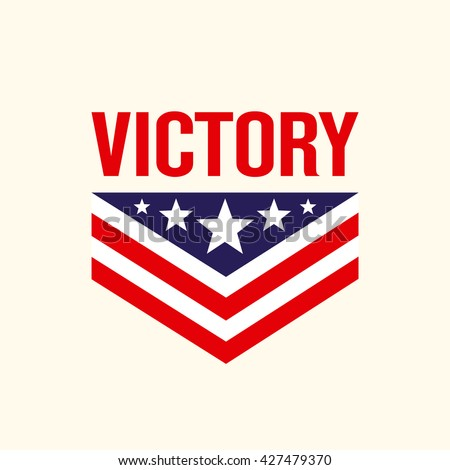 Caption Victory with the stars and chevron. Sign, symbol, logo. Vector illustration.