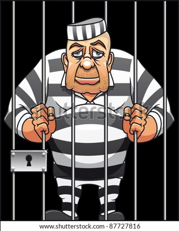 Captured danger prisoner in cartoon style for justice design. Rasterized version also available in gallery - stock vector