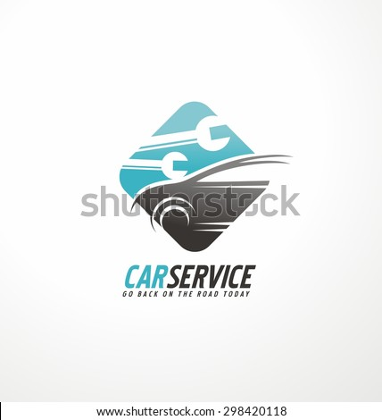 Car abstract vector logo design concept. Transportation creative symbol layout. Auto service icon with tools in negative space. Car repair and auto parts theme. - stock vector