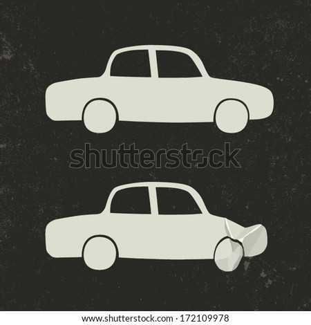 Car accident . Cars before and after the accident. - stock vector