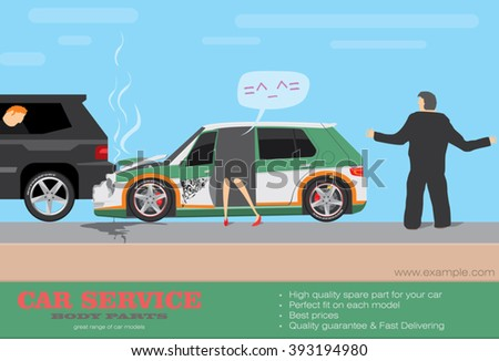 Car accident. Driver lose control. Wrecked cars. Vector illustration - stock vector