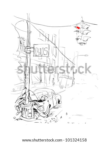 Car accident. Hand drawn.. Vector illustration. - stock vector