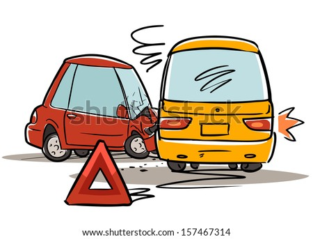 car accident. red triangle sign. cartoon illustration - stock vector