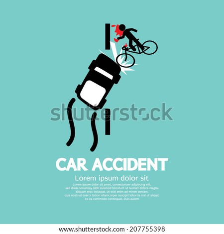 Car Accident With Bicycle Vector Illustration - stock vector