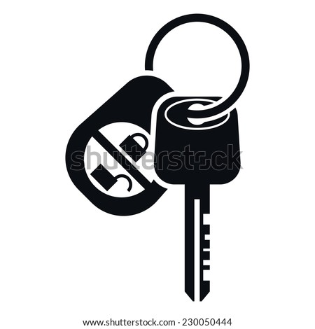Car Alarm and Key Icon, Vector Illustration - stock vector