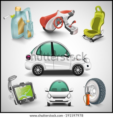 Car and accessories vector - stock vector