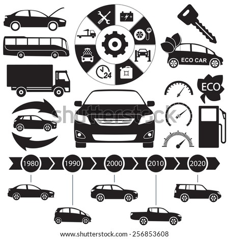 Car and auto service Infographics elements. Transportation black icons and symbols isolated on white background. Vector illustration.  - stock vector