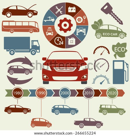 Car and auto service Infographics elements. Transportation icons and symbols. Vector illustration.  - stock vector