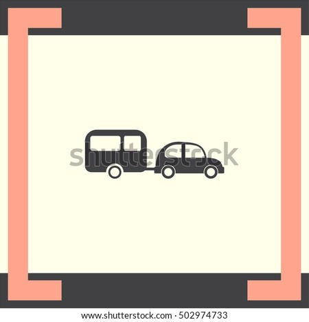 Car and camping trailer vector icon. Vacation sign. Travel and recreation symbol.