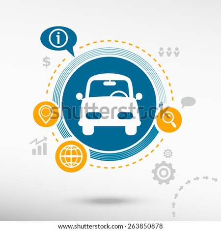 Car and creative design elements. Flat design concept - stock vector