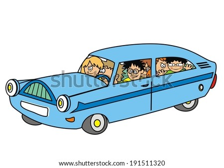 car and family  - stock vector