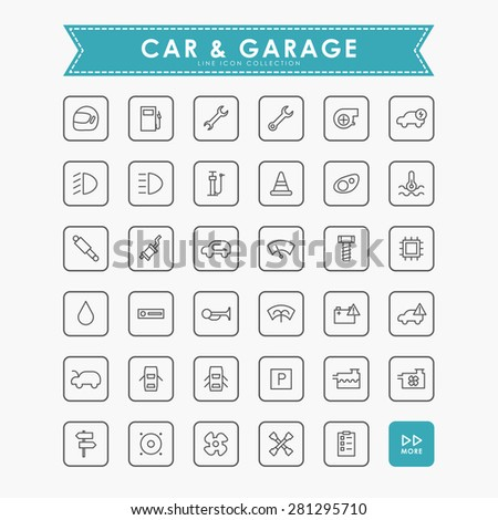 car and garage outline icons