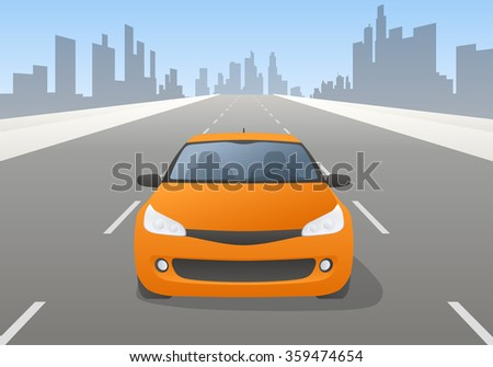 car and highway, front view, vector illustration - stock vector