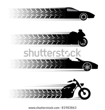 car and motorbike symbols. - stock vector