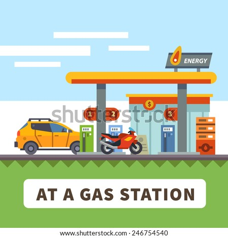 Car and motorcycle at a gas station. Urban landscape. Vector flat illustration - stock vector