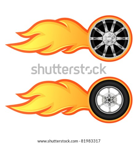 Car and motorcycle wheel with flame - stock vector