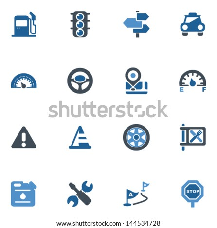 car and road icons - stock vector