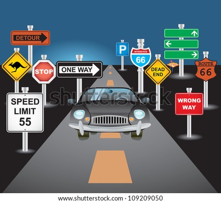car and signs - stock vector