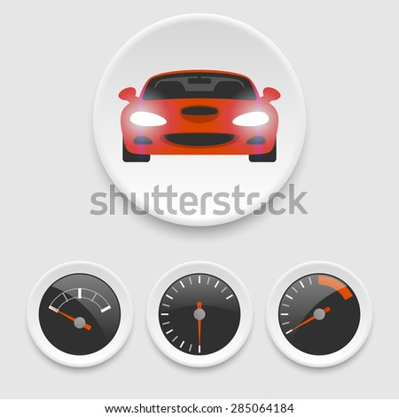 Car and speedometer icons. Eps10 - stock vector